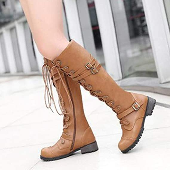 Hunzed Womens Long Leather Waterproof Boots Lady Punk Buckle Military Combat Shoes at Amazon Womens Clothing store: