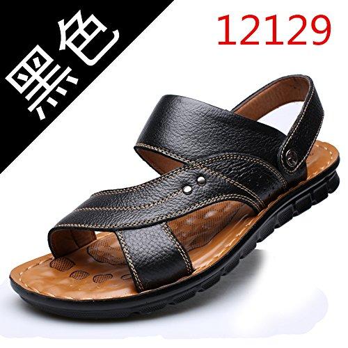 Xing Lin Sandalias De Hombre Verano Sandalias De Hombres Transpirable Zapatillas Antideslizantes Edad Media Grandes Zapatos De Hombre Suciedad Fondo Blando Papá Zapatos, 45,12129 Negro