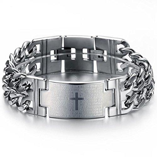 Xiafen Mens Stainless Steel Bracelet Heavy Wide link Bracelet Cross Prayer Double Curb - Chain Link Curb Double