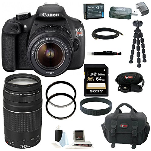 Canon EOS Rebel T5 DSLR Camera with 18-55mm and 75-300mm Lens Bundle and 64GB Deluxe Accessory Kit (Digital Camera Photography compare prices)