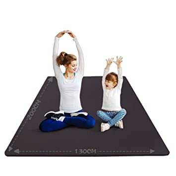 YUREN XL Yoga Mat 4X7 ft Wide Large 10mm Comfortable Thick Non-Slip NBR Foam Stretch Cardio Oversized Home Gym Exercise Mat