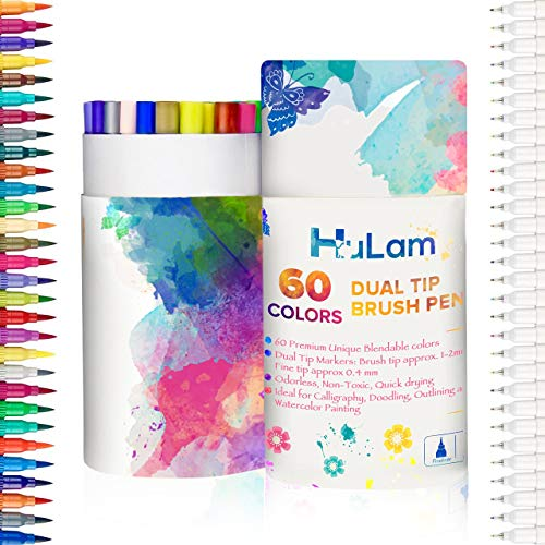 60 Color Dual Tip Brush Pen Art Markers by HuLam 0.4mm Fineliner I Brush Tip (1mm-2mm) Double Colored Pens Set for Adults, Kids, Children Coloring Books, Bullet Journal, Note Taking and Calligraphy by HuLam