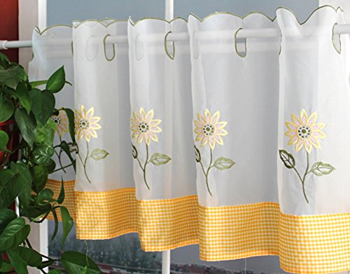 XIULIHUI Handmade Sunflower Embroidery Pastoral Style Floral Window Valance, Kitchen Curtain, Cafe Curtain, Dining Room Curtain,18 x 60inch