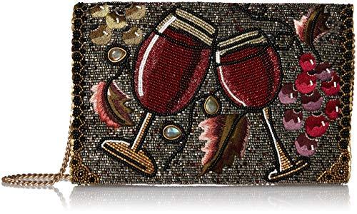 Mary Frances Vino Beaded Wine Glasses and Grapes Crossbody Clutch Handbag, Multi