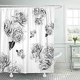 Black White Pink Shower Curtain Emvency 72