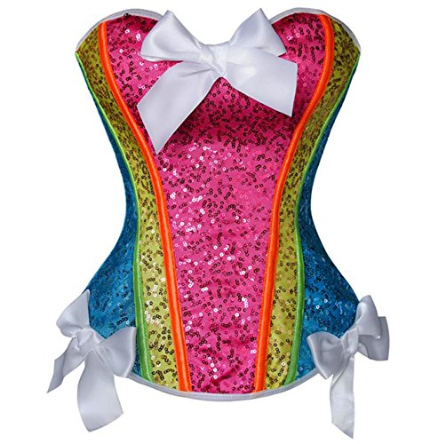 S-Lady Women's Fashion Colorful Sequin with Bows Trim Corset Large
