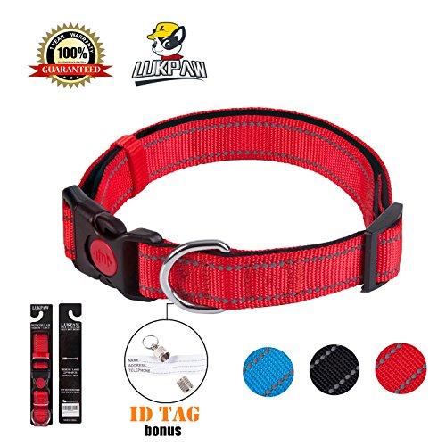 LukPaw Reflective Dog Collar Padded Dog Collar Adjustable Dog Collar for Large Dog Medium Dog Nylon Collar Running Training (Red) ()