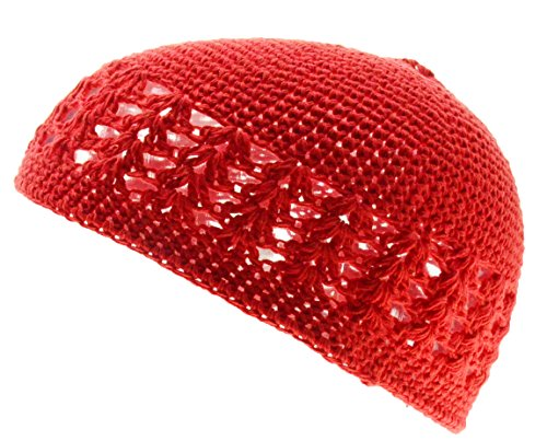 Kufi Skull Cap (100% Cotton KUFI Crochet Beanie Skull Cap Knit Hat Brand New (Red))