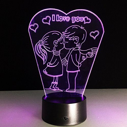 LEDMOMO Valentine's Day I Love You 3D Lamp Visual Light Effect 7 Colors Changes Night Light(Boys and Girls) by LEDMOMO