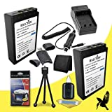 Two Halcyon 1800 mAH Lithium Ion Replacement BLS-1 Battery and Charger Kit + Memory Card Wallet + SDHC Card USB Reader + Deluxe Starter Kit for Olympus Evolt E-420 10MP Digital SLR Camera and Olympus BLS-1