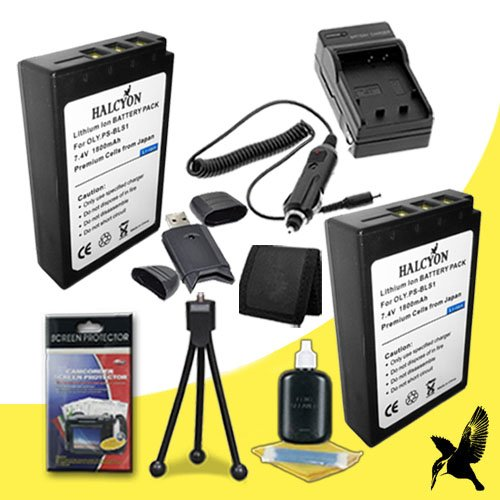 Two Halcyon 1800 mAH Lithium Ion Replacement BLS-1 Battery and Charger Kit + Memory Card Wallet + SDHC Card USB Reader + Deluxe Starter Kit for Olympus Evolt E-420 10MP Digital SLR Camera and Olympus BLS-1 by Halcyon