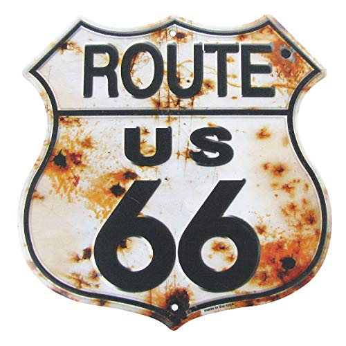 (Rusty Highway Route 66 Metal Sign US Made Vintage Rustic Garage Man Cave Wall Decor)