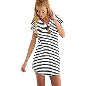 Women Dress,kaifongfu New Crew Neck Short Sleeve Striped Loose T-Shirt Mini Dress