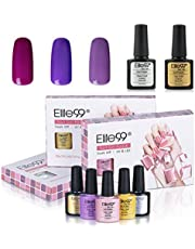 Gel Polsih, Elite99 UV LED Soak off Gel Nail Polish Set Shiny Varnish Nail Art Manicure Kit 3 Colors + Top Coat and Base Coat C047