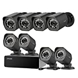 Zmodo 8 Pack 720P HD Weatherproof sPoE Security Camera w/8CH sPoE Repeater for Power & Data Transmission, Remote Monitoring, (NVR not Included)- [Free 6-Month Cloud Service for Recording]