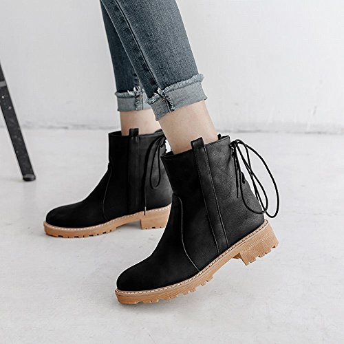 Latasa Womens Lace-up Chunky Heel Short Boots Black rb1QtuW