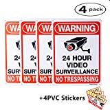 """DateDirect 4-Pack Video Surveillance Sign,No Trespassing Metal Warning Aluminum Security Signs with 4 Stickers 10""""x 7"""" 0.40 for Home Business CCTV Security Camera,UV Protected & Waterproof"""