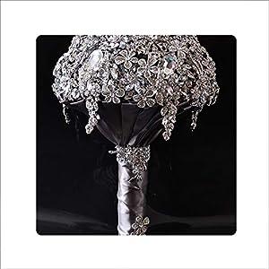 Ubiquity-Shop Luxury Wedding Bouquet Crystal Bridal Bouquet Wedding Brooch Bouquet Silver Jeweled Wedding Bouquet S42 119
