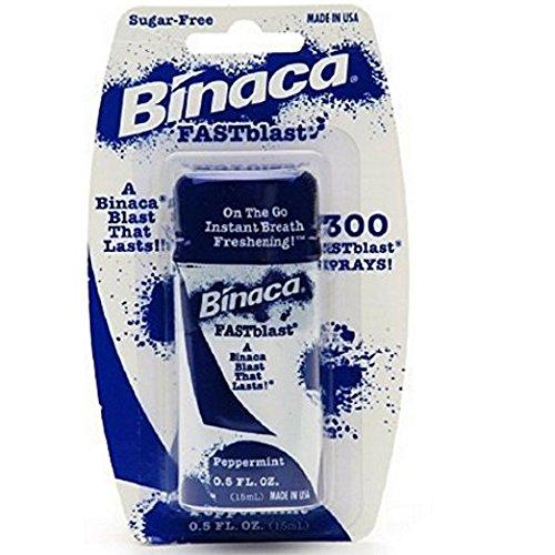 Binaca Fast Blast Breath Spray PepperMint 0.50 oz (Pack of 6)