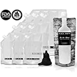 (9) Black & White Label Plastic Flasks Liquor Flask Rum Runner Cruise Kit Sneak Alcohol Drink Wine Pouch Bag Set Concealable Flasks For Booze (3x32oz + 3x16oz + 3x8oz + Wine To Go Flask +Funnel)