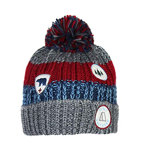Patch and Marled Stripes Stretch Winter Beanie- Fleece Lined Knit Hat w/Fluffy Pom (Grey, Red, and Blue with Patchwork)