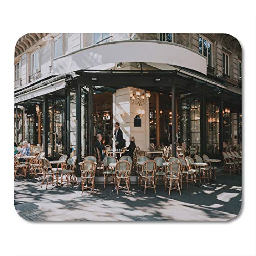 - Emvency Mouse Pads Typical View of The Parisian Street Tables Brasserie Cafe Mouse Pad for notebooks, Desktop Computers mats 9.5