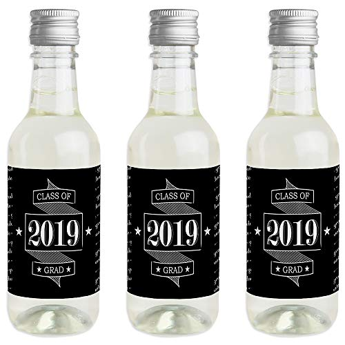 Graduation Cheers - Mini Wine and Champagne Bottle Label Stickers - 2019 Graduation Party Favor Gift for Women and Men - Set of 16