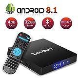 Leelbox Q4 S Android 8.1 TV Box 4GB RAM 32GB ROM RK3328 BT 4.1 Quad-Core Cortex-A53 64 Bits Support 2.4GHz WiFi 4K 3D Ultra HD HDMI H.265,USB 3.0 Smart TV Box