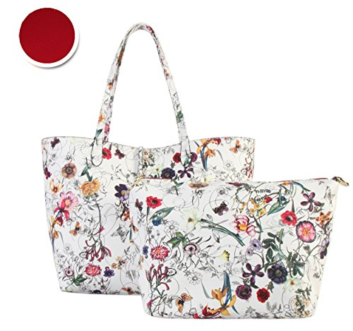 Diophy PU Leather Colorful Floral Pattern Two Tone Reversible Large Tote Womens Purse Handbag with Matching Crossbody Bag 2 Pieces Set FL-6000 FL-6001 (White exterior-Red interior)