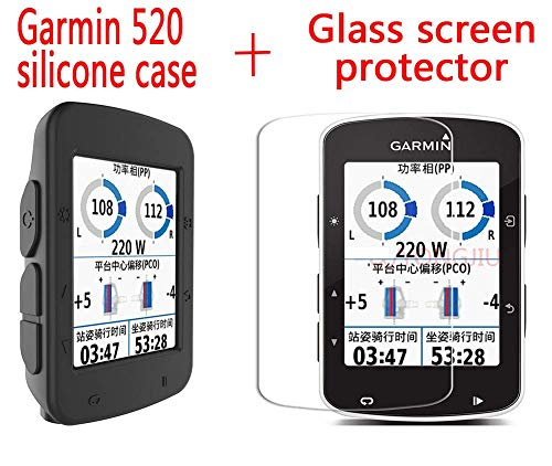 WLKY Garmin Edge 520 Protective Case + Glass Screen Protector,Silicone Case + 9H Glass Screen Protector for Garmin Edge 520 GPS Bike Computer