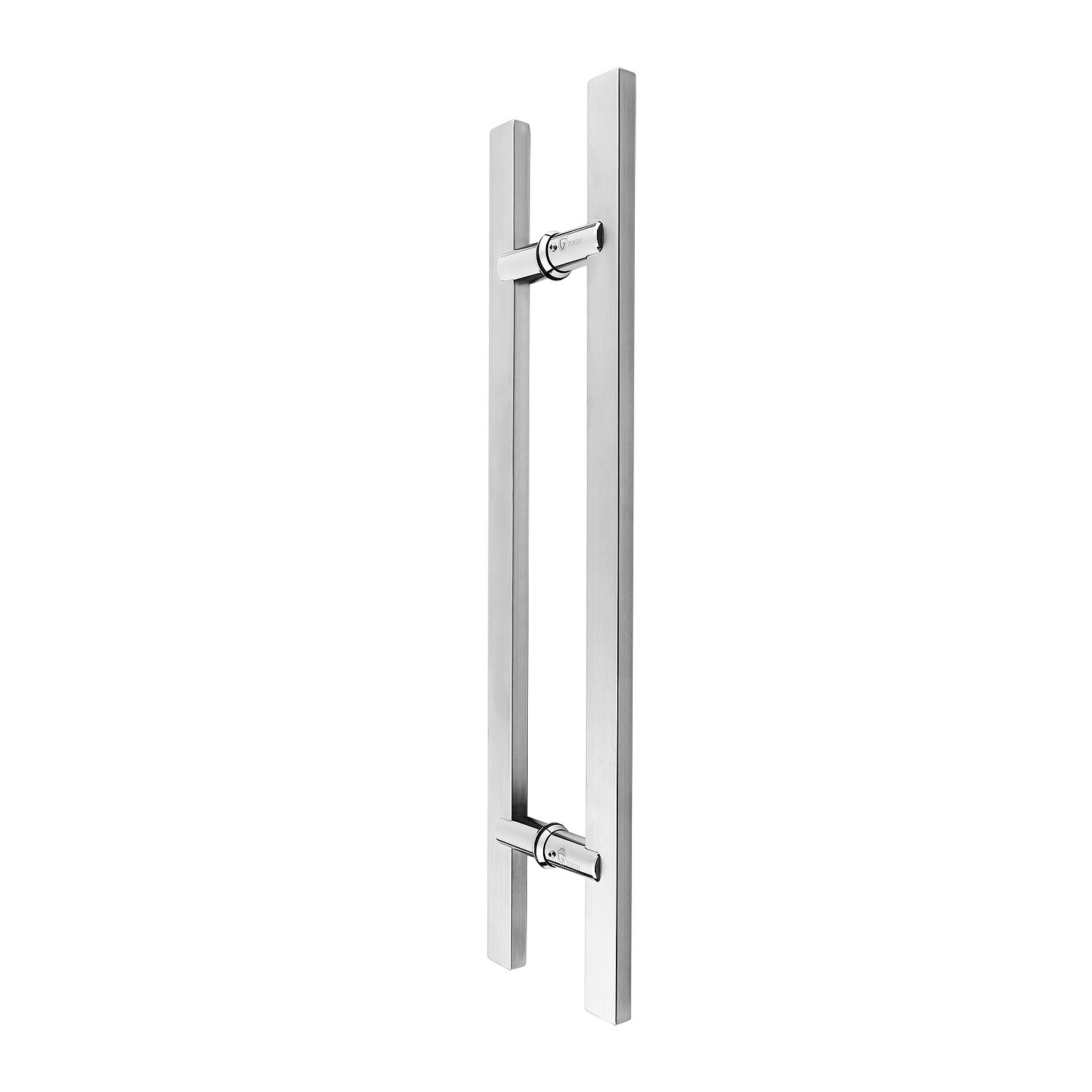 TOGU TG-6017 12 inches Length Square/Rectangle H-shape Heavy-duty Stainless Steel 304 Push Pull Door Handle/Barn Door Pull Handle/Glass Pulls, Full Brushed Stainless Steel Finish
