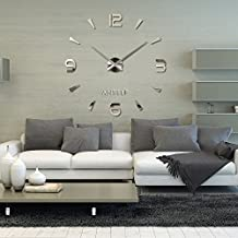 Docooler Modern DIY Large Wall Clock Mural 3D Mirror Sticker Time
