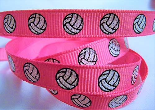 (Grosgrain Ribbon - Hot Pink Glitter Volleyball Print - 3/8