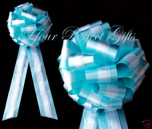 TEAL BLUE WHITE WEDDING 9'' LACE PULL BOW PEW BRIDAL