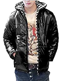 Mens Leisure Winter Warm Hooded Shiny With Pocket Winter Coat