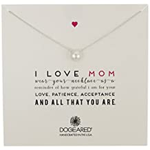 """Dogeared """"Mom"""" I Love Mom Large White Pearl Necklace, 18"""""""