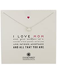 "Dogeared ""Mom"" I Love Mom Large White Pearl Necklace, 18"""