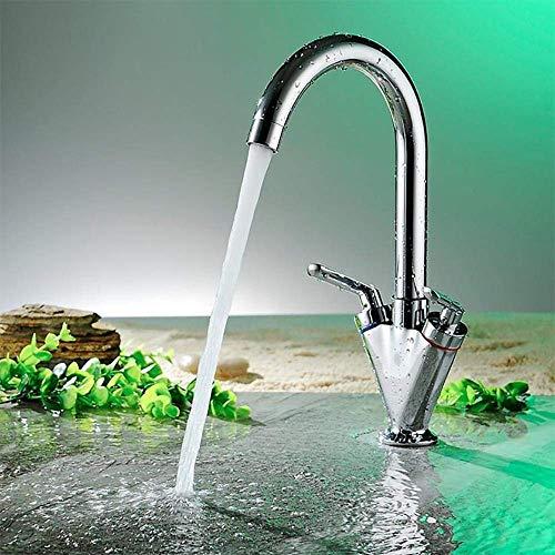 TRNMC Double Lever Tap Kitchen Sink Bath Tap Chrome Rotatable Adjustable Spout Nozzle