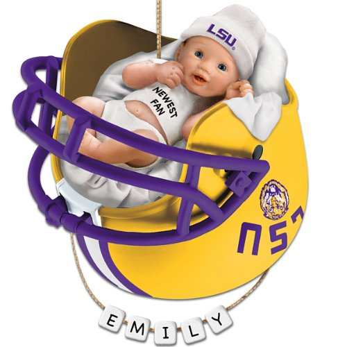 Louisiana State University Tigers Football Baby's First Ornament with Personalization Kit by The Bradford Exchange (State University Tigers Football)