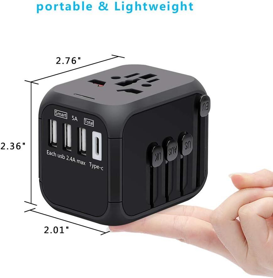 Adaptador de Viaje Universal, Adaptador Enchufe con 3 Puertos USB y 1 x Cargador Tipo-C para US EU AU de 150 Países: Amazon.es: Electrónica