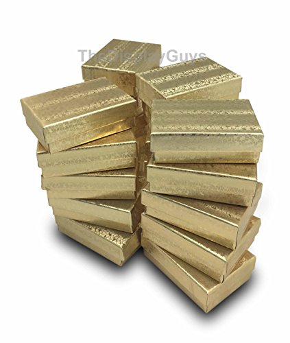 TheDisplayGuys 100-Pack #32 Cotton Filled Cardboard Paper Jewelry Box Gift Case - Gold Foil (3 1/4