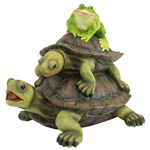 Design Toscano Along for the Ride, Frog and Turtles Spitter Piped Statue