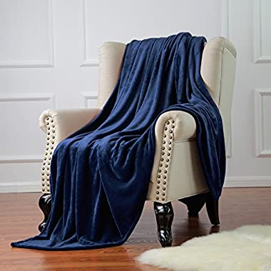 Flannel Throw Blankets, Bed Blanket by Bedsure-100% Plush Microfiber(Warm/Cozy/Fluffy), Lightweight and Easy Care, Couch Blanket, Twin Full/Queen King(50 x60  Blue Navy)