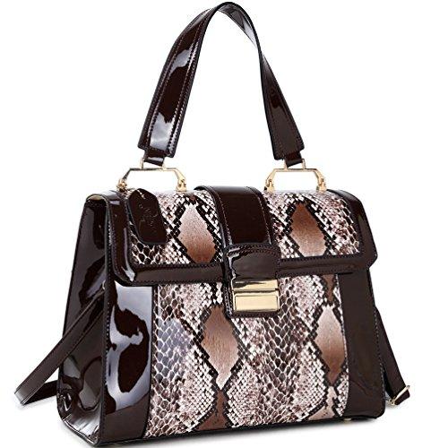 - Fold-Over Lock Tote Bag Fashion Snake Print Patent Vegan Leather Handbag w/ Shoulder Strap Brown