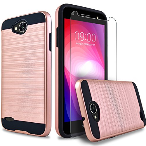 LG Fiesta 2 Phone Case, LG X Power 2 Case, LG Fiesta LTE Case, LG X Charge Case, Dual Layers Hybrid Shockproof Case With [Premium Screen Protector Included] + Circlemalls Stylus Pen (Rose Gold)