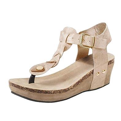 ca037edd86d8e Minetom Sandales Compensées Femme Sandales Talon Compensé Chaussures Tongs  Sandales Talons Hauts Bout Ouvert Plate-