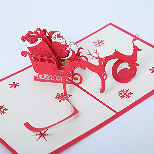 [Clearance Christmas Decorations ]-Christmas Santa Elk Sled 3D Pop Up Paper Greeting Cards Handmade Holiday -