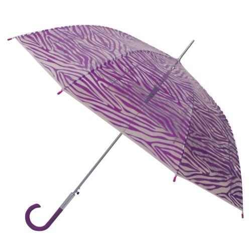 Weatherproof 48 Inch Clear Dome Fashion Prints Stick Umbrella, Purple Zebra, One Size