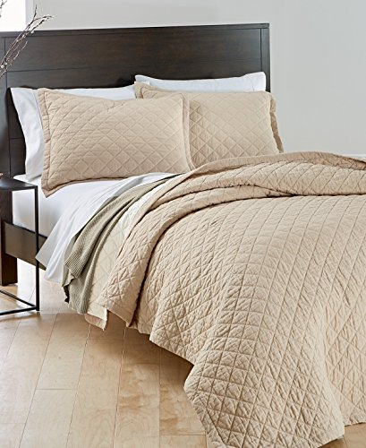 Martha Stewart Collection Taupe Oat Queen Bedspread Quilted Quilt Beige Linen Mix