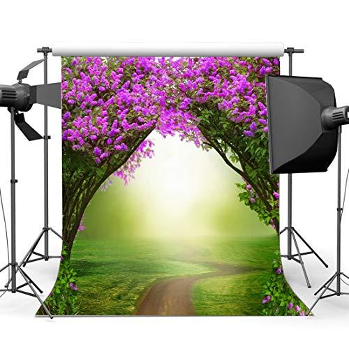Gladbuy Fairytale Wonderland Backdrop 5X7FT Vinyl Enchanted Garden Ivy Fresh Floral Backdrops Green Grass Meadow Fantasy Landscape Photography Background for Girls Princess Photo Studio Props EB247